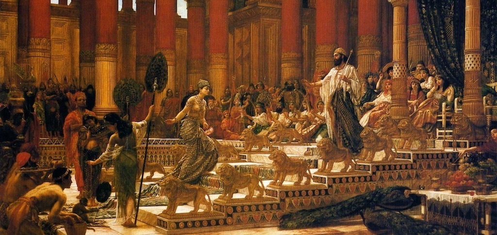 King Solomon welcomes the Queen of Sheba at the Temple